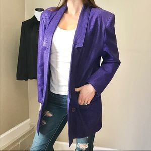 Vintage 80's Purple Oversized Leather Long Blazer